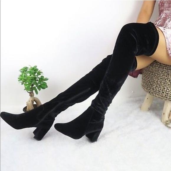 f1eb8bb9f9e13 Jeffrey Campbell NEWBlack Velvet Heeled Tall Boots NWT